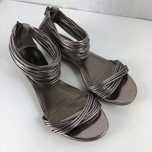 Aldo Metallic Silver Strappy Flat Sandals Size 6